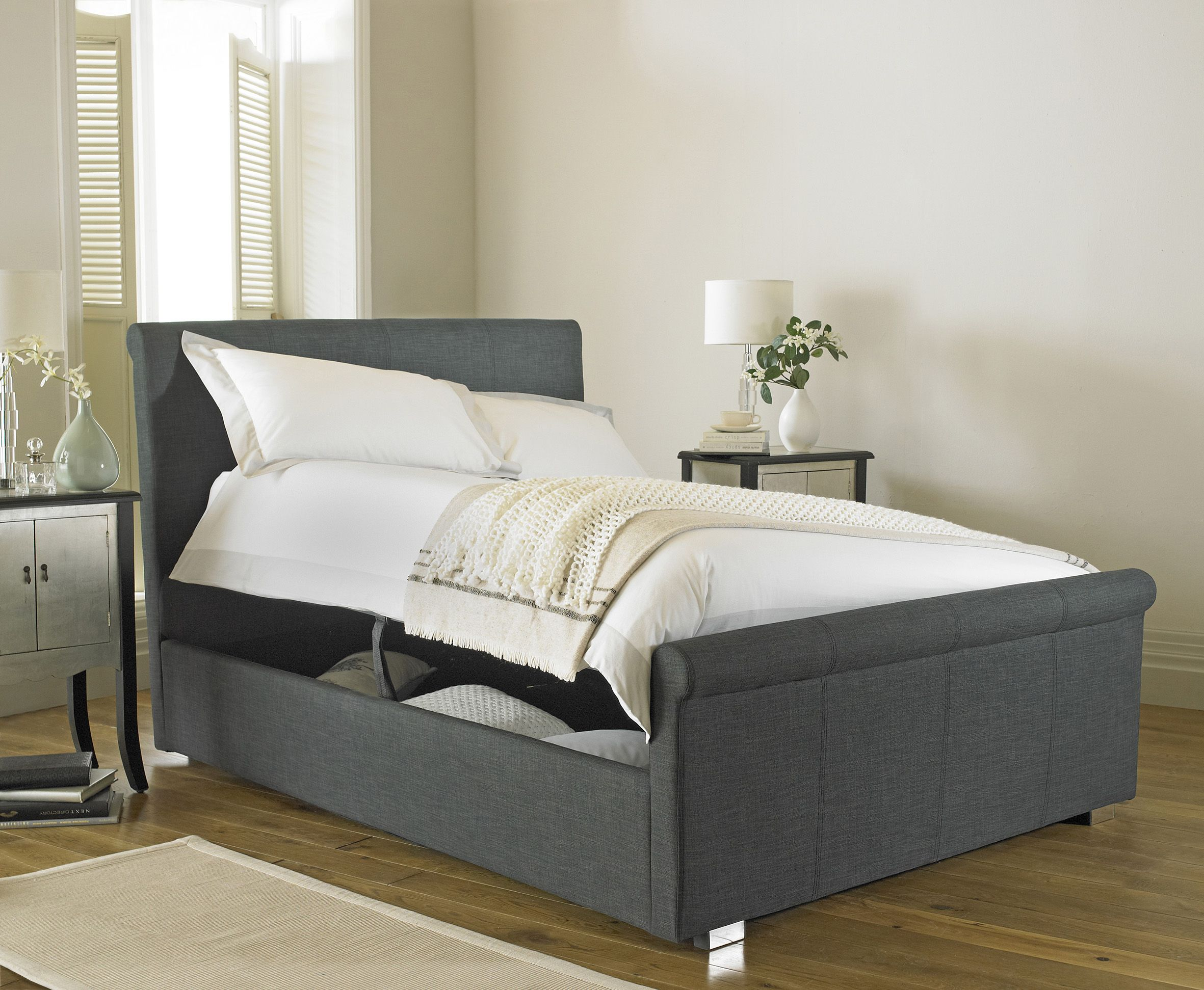Pleasing Vienna Side Opening Ottoman Double Bed Upholstered In Grey Gmtry Best Dining Table And Chair Ideas Images Gmtryco