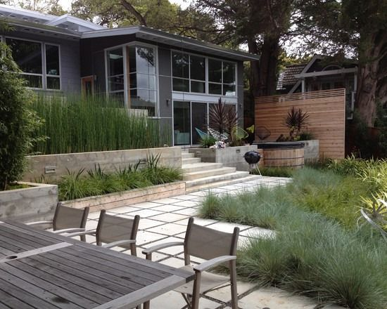 terrasse essbereich bambus pflanzen sichtschutz deko gräser