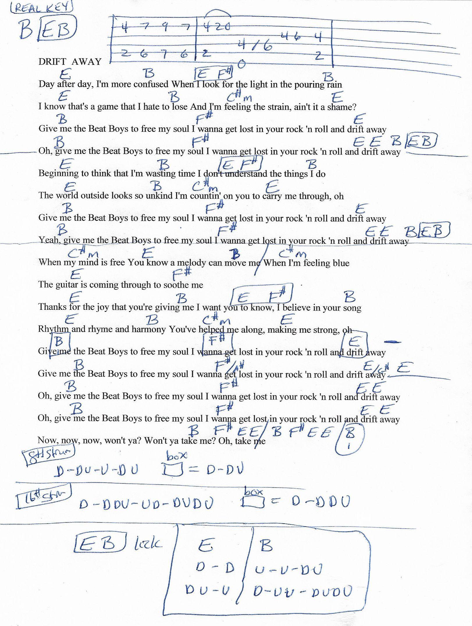 Drift Away Dobie Gray Guitar Chord Chart In B Real Key 2018