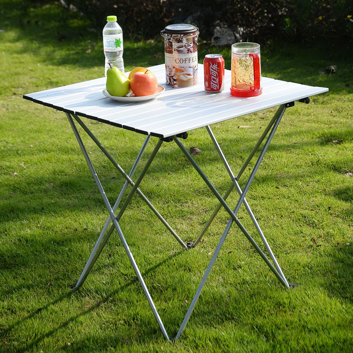 Kseven Aluminum Portable Roll Up Folding Table With Carrying Bag, Light  Weight Compact Camping Outdoor Indoor Picnic Garden Yard Lawn Patio Beach  Utility ...