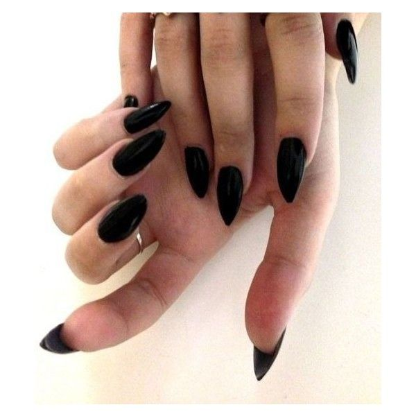 Black stiletto nails ❤ liked on Polyvore featuring beauty products ...