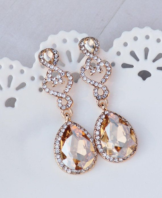 54b393a71b05a NEW Golden Champagne Crystal Chandelier Earring,Gold Clear Crystal ...