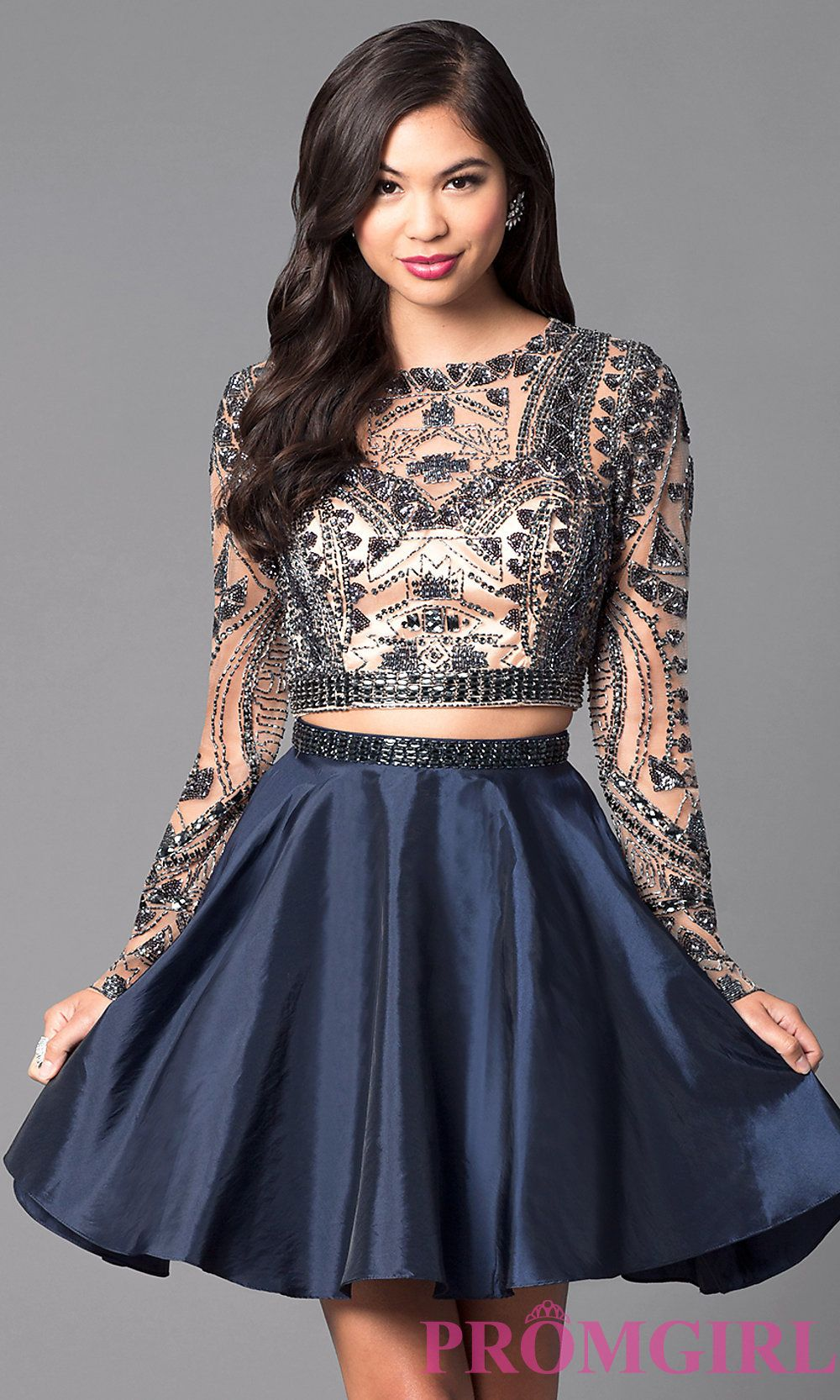 a06676f6635 Two-Piece Short Open-Back Homecoming Dress