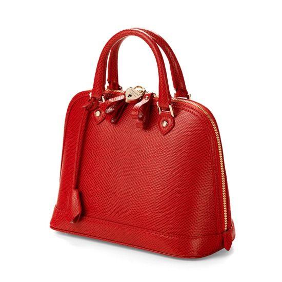 Mini Hepburn Bag In Berry Lizard From Aspinal Of London