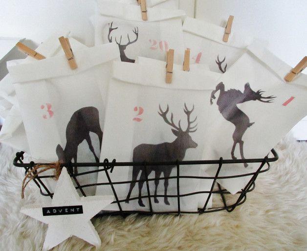 Adventskalender - ★ Adventskalender ★ Körbchen ★ Tüten ★ Hirsche - ein Designerstück von verfilzt--angenaeht bei DaWanda