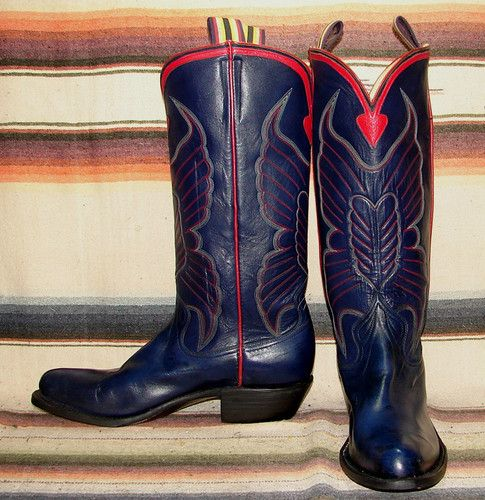 ea46b55d6d1 Mens Vintage Blucher Navy Blue Kangaroo Handmade Cowboy Boots ...