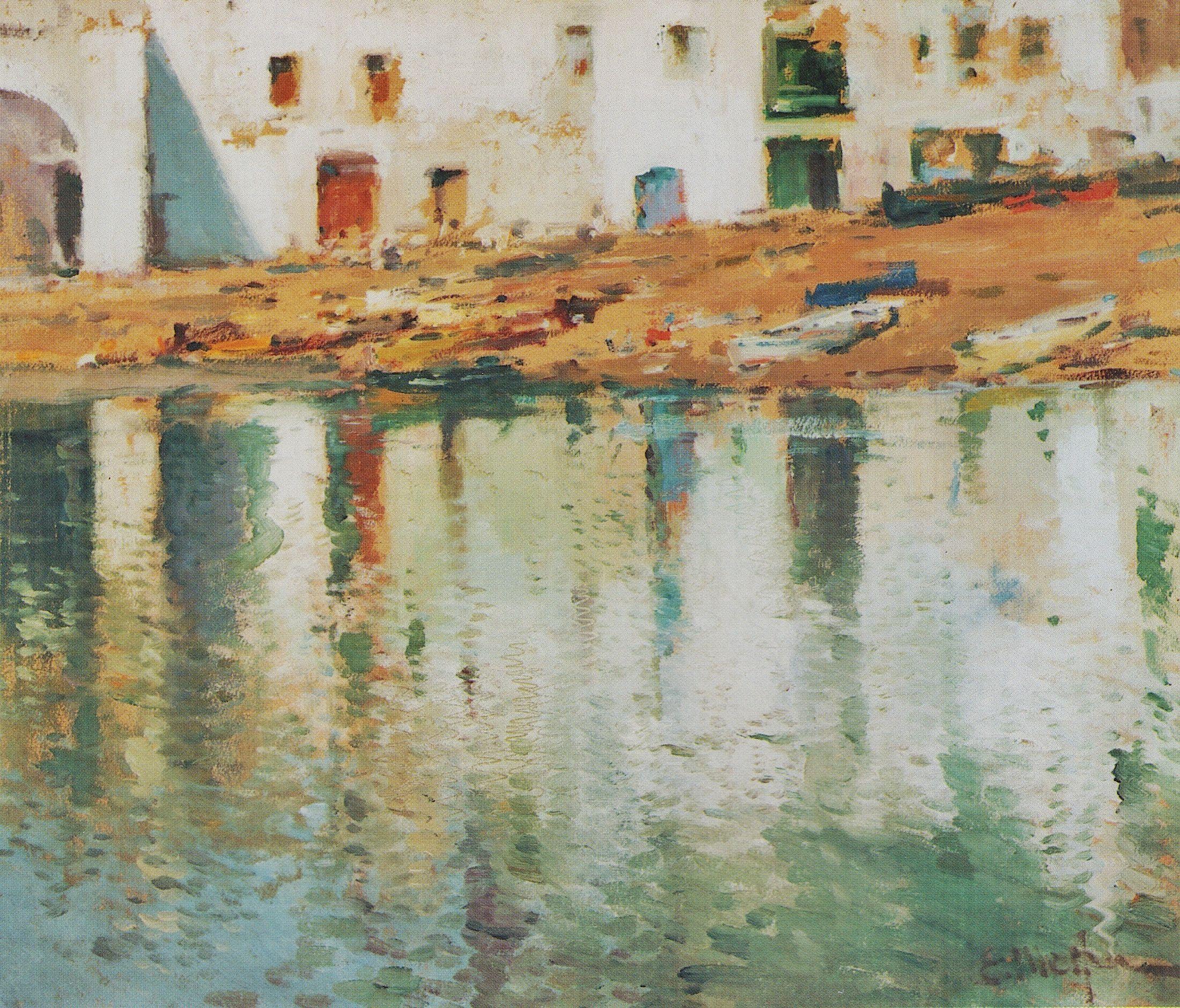 Eliseo Meifrén Roig. Cadaqués, Girona. Óleo sobre lienzo. Firmado. 60 x 80 cm. Galería Manuel Mayoral, Barcelona, abril de 2002, p. 33.