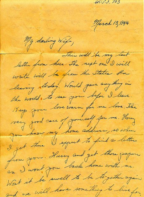 wwii march 13th 1944 departing soldier love letter to war bride flickr photo sharing
