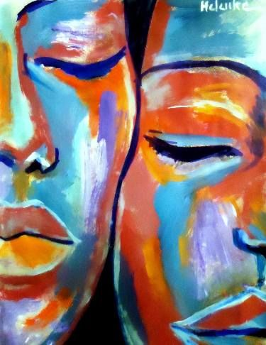 """Buy """"At rest"""", a Acrylic on Canvas by Helena Wierzbicki from Argentina. It portrays: Love, relevant to: helena wierzbicki, art prints, Vibrant colors, paintings for sale, bold colors, abstract portraiture, affordable paintings, prints for sale Abstract Portraiture. Medium: Acrylic on canvas Size: 60x76.5 cm. (23.8x30.3 in.)"""