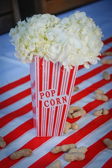 Flower arrangements white hydrangeas as popcorn circus