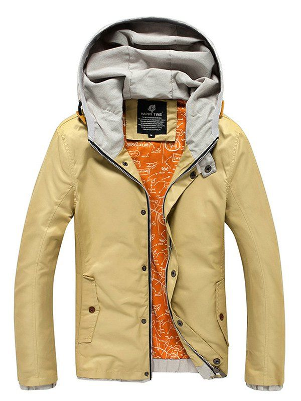 Color Block Splicing Design Hooded Zip-Up Jacket #hats, #watches, #belts, #fashion, #style