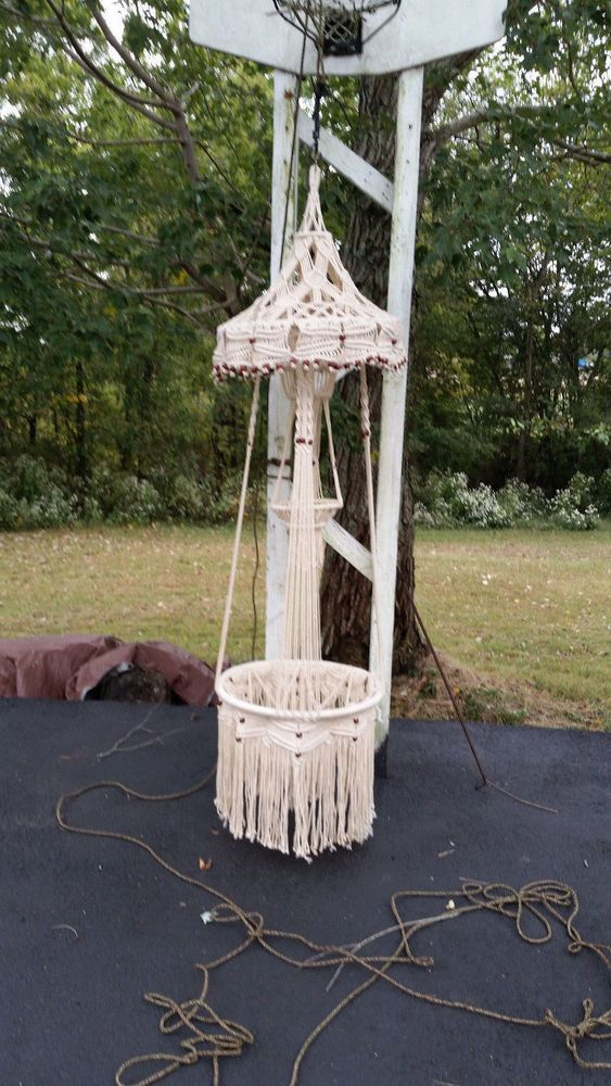 Vintage 7ft 2 Tier Cream Macrame Floating Table Or Hanging Planter 60s 70s Macrame Hanging Planter Macrame Plant Hanger Hanging Plants