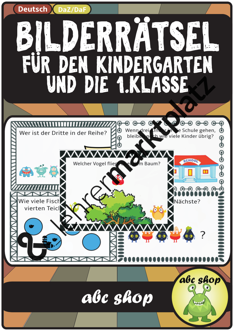 Bilderrätsel für den Kindergarten, DaZ-Gruppen und die 1. Klasse ...
