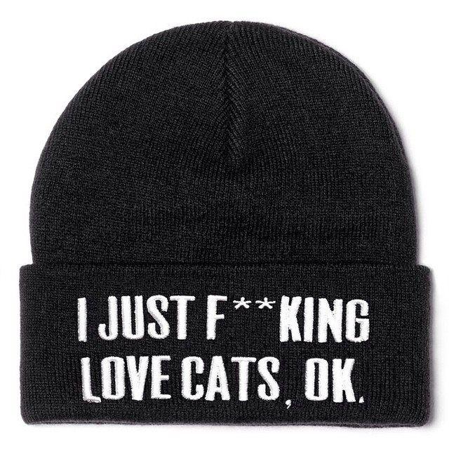 Touca I just fucking love cats, ok. (Acrescentar orelhas)