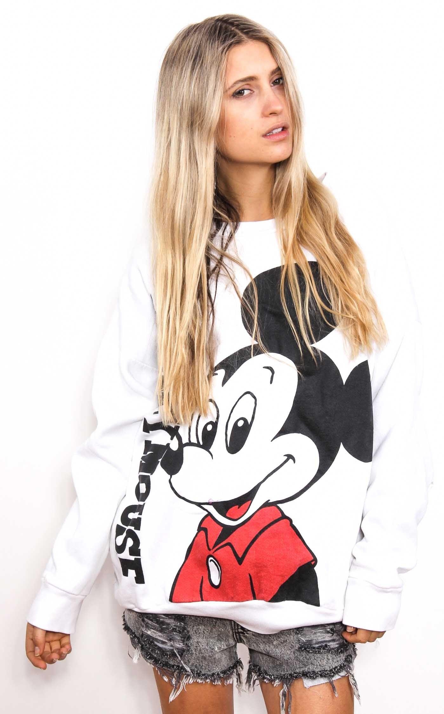 Vintage Mickey Sweater - White Double Print $45