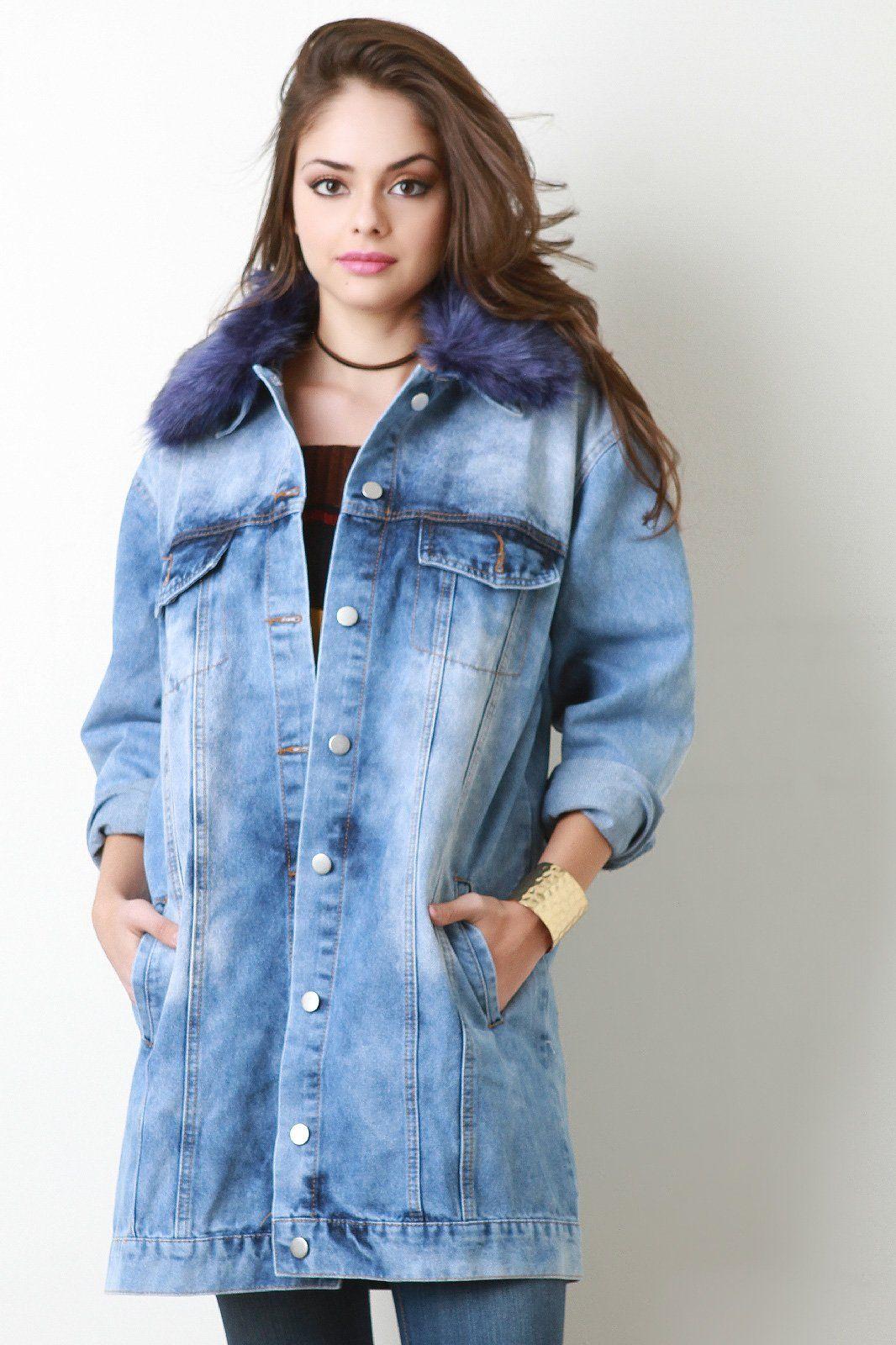 6872a242a6b3 Colorful Faux Fur Collar Long Denim Jacket