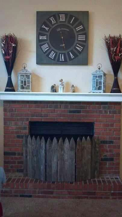 wooden fireplace screens. DIY fireplace screen we made  Love it diy using a picture frame for the house