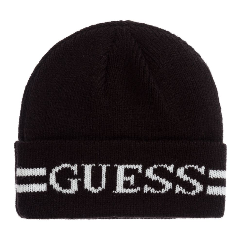 Girls Black Beanie Hat From Guess Knitted In A Soft Mid Weight Wool Blend It Has A White Logo Design On The Turn Up Brim Black Wool Hats Kids Hats