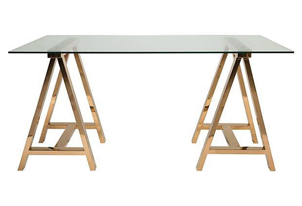 Savanna Desk Gold Furniture Glass Top Desk Home Office Furniture