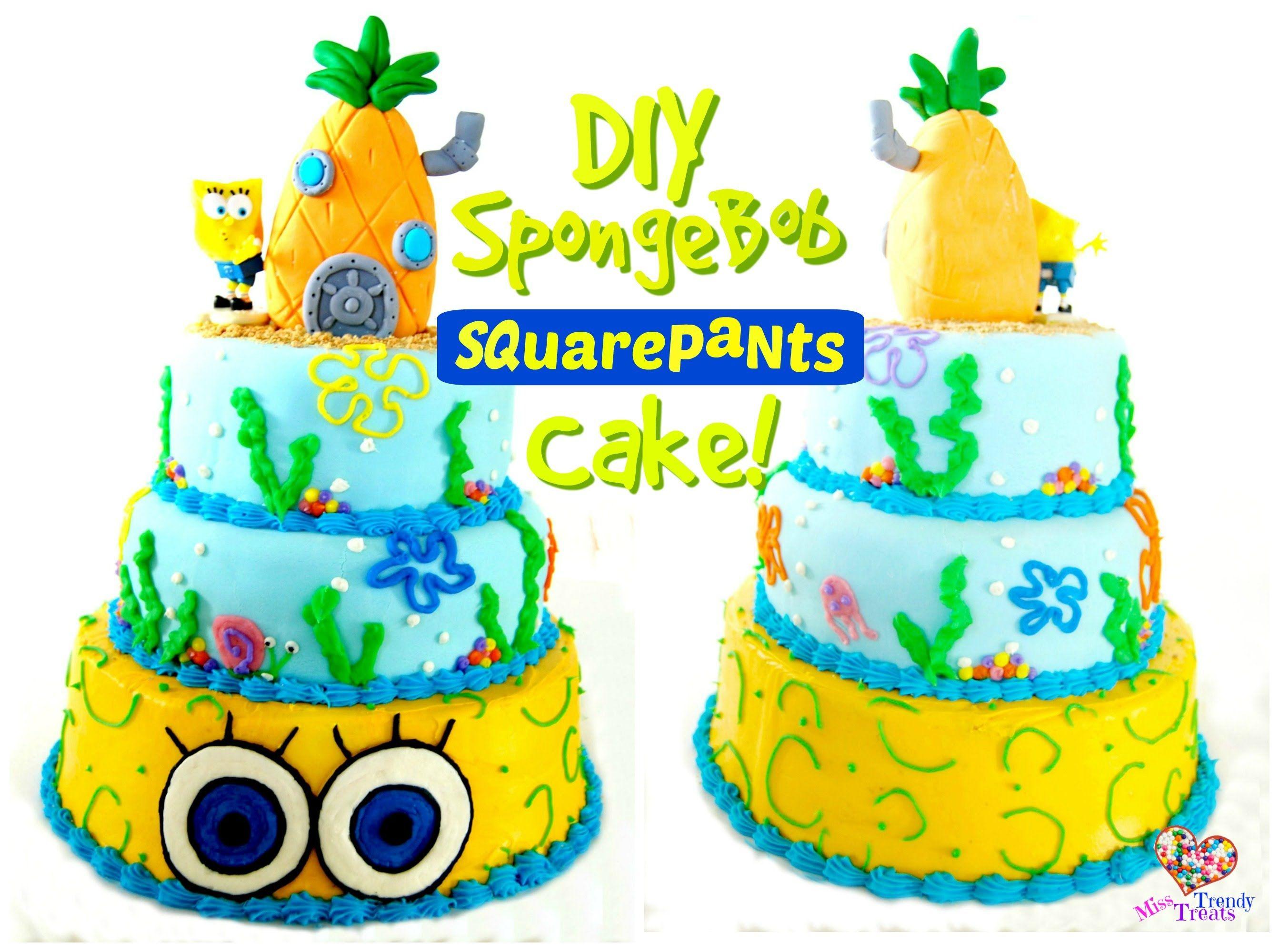 Fun spongebob cake with a rice krispie pineapple cake