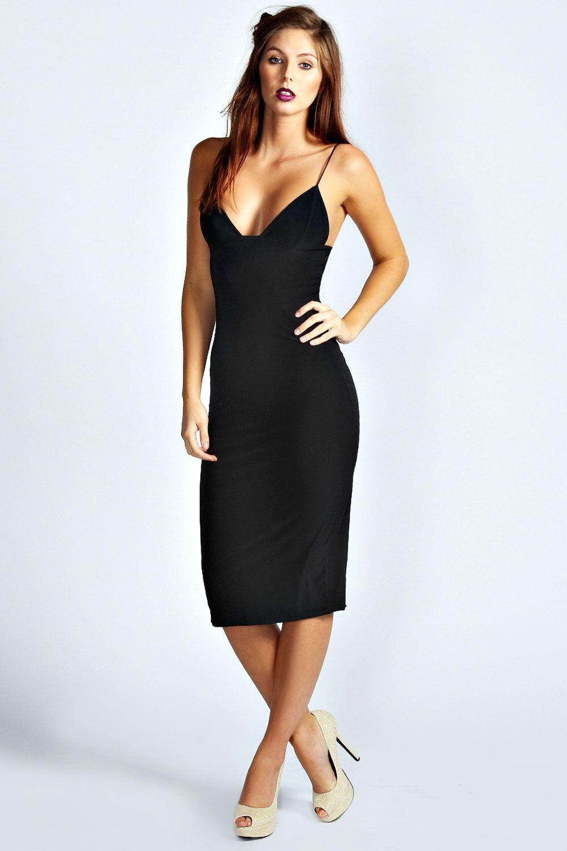 Black dress bodycon - Karen Slinky Bodycon Midi Dress