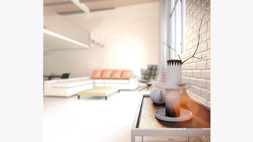 Foto detalle del salón de un apartamento.