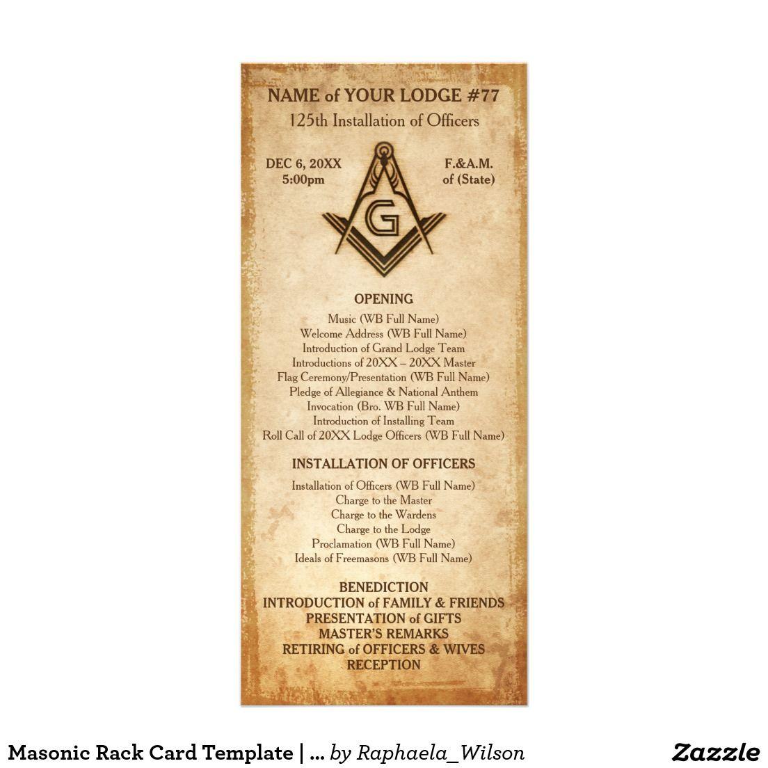 Masonic Rack Card Template | Old Rustic Parchment | Custom Masonic ...