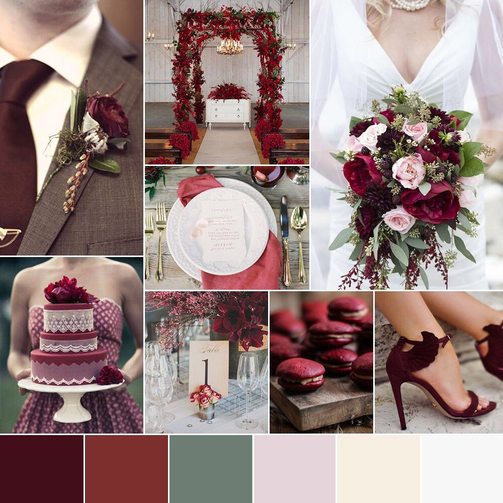 Cranberry champagne wedding - Wedding Color Palette Pantone Color Of The Year 2015 Marsala Blush Pink Cranberry Olive Cream White