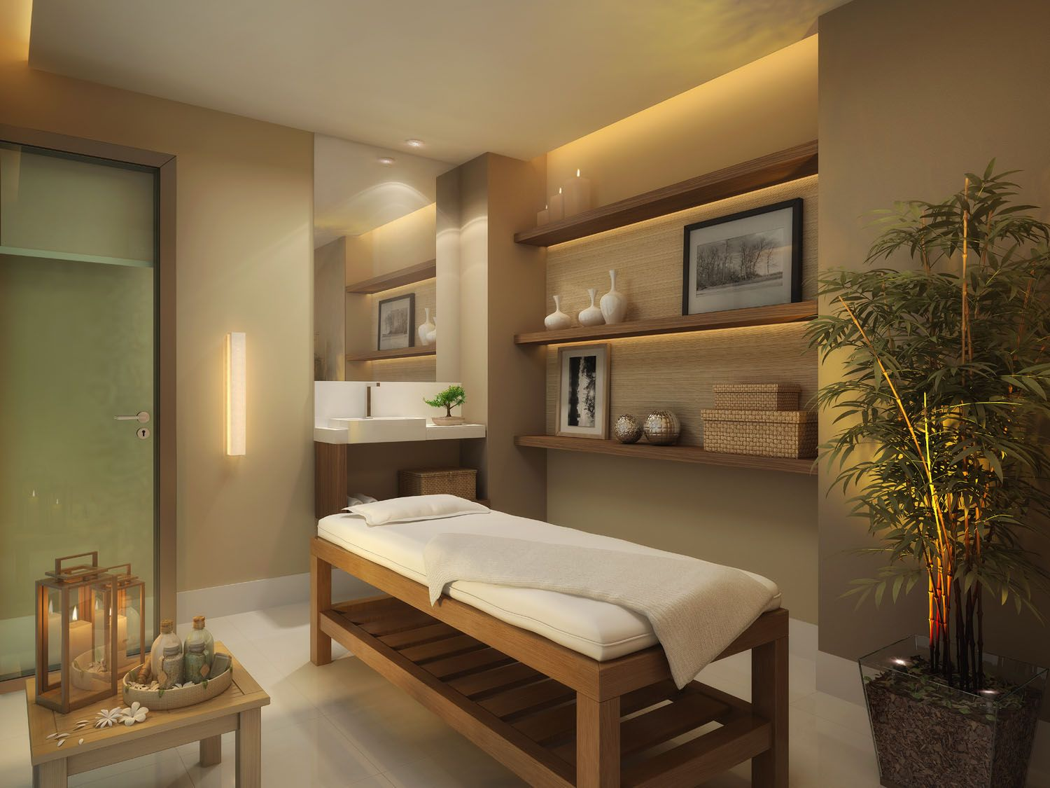 Nice and relaxing color palette spa room | Spa decorating ...