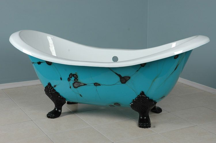 Whoa... turquoise clawfoot tub <3 <3 <3   All Turquoise   Pinterest ...