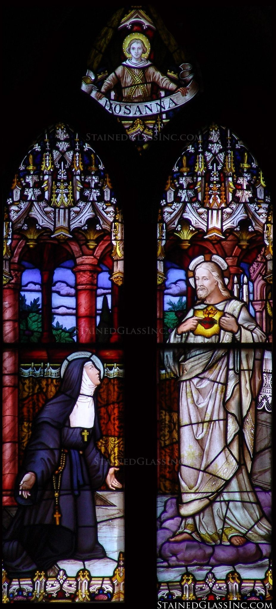 """""""Margaret Mary and the Sacred Heart"""" Religious Stained Glass Window"""