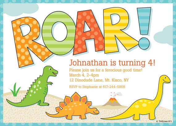 Dinosaur Party Invitation Custom Printable Dinosaur By Thelmabs 12 00 Dinosaur Birthday Invitations Dinosaur Birthday Party Invitations Dinosaur Invitations