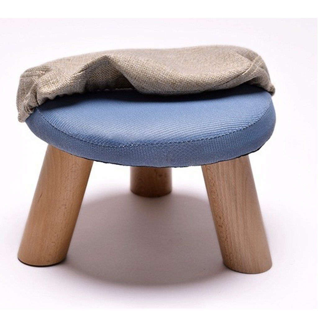 Uusshop Round Wooden Upholstered Footstool Footrest Ottoman Pouffe Chair Foot Child Stool With Removable Linen Co Upholstered Footstool Kids Ottoman Kids Stool