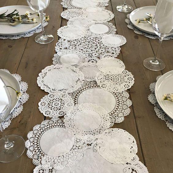 PRETTIE TABLE RUNNER centrini di carta rustico Shabby - fai da te, matrimoni, feste, tavola Decor, Tablescape, decorazione