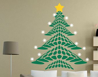 Vinyl Christmas Wall Decal Christmas Tree Snow Flakes Star - Christmas wall decals removable