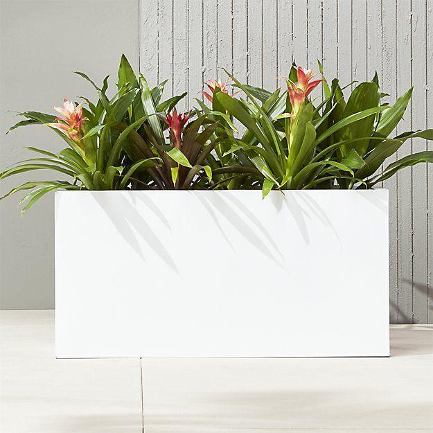 Blox White Large Rectangular Planters Cb2 In 2020 White Planters White Planter Boxes Long Planter Boxes