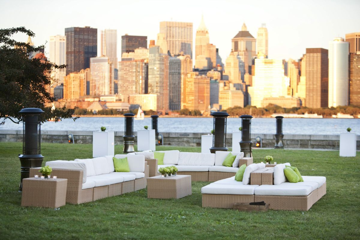 Cocktail Party Wedding Ideas Part - 34: LOVE This Outdoor Cocktail Party Seating Arrangement At An Ellis Island  Wedding. Look At That