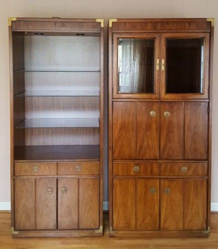Thomasville pecan tall cabinets incl (1) open shelf lighted curio cabinet and (1) lighted media cabinet. & Thomasville pecan tall cabinets incl (1) open shelf lighted curio ...