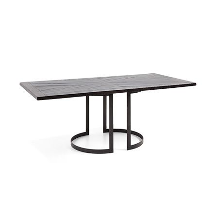 Nobelle 60 Dining Table With Wells Base In Black Rectangle