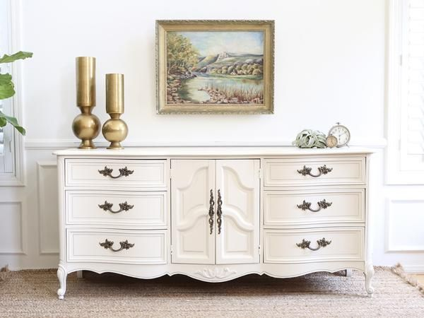 BRAND DIXIE Shabby Chic French Provincial Vintage Dresser / Buffet Cabinet  / Credenza No184