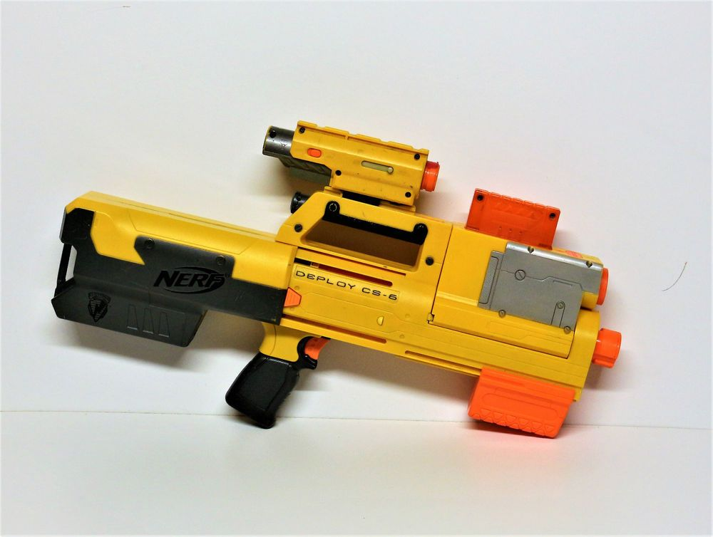 Nerf gun Deploy CS 6 Blaster With red Laser Light sights vgc see through mag
