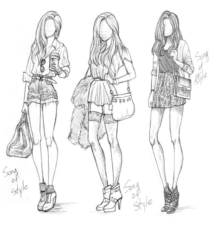 Art Fashion Girl Girls Sketch Inspiring Picture On Favim