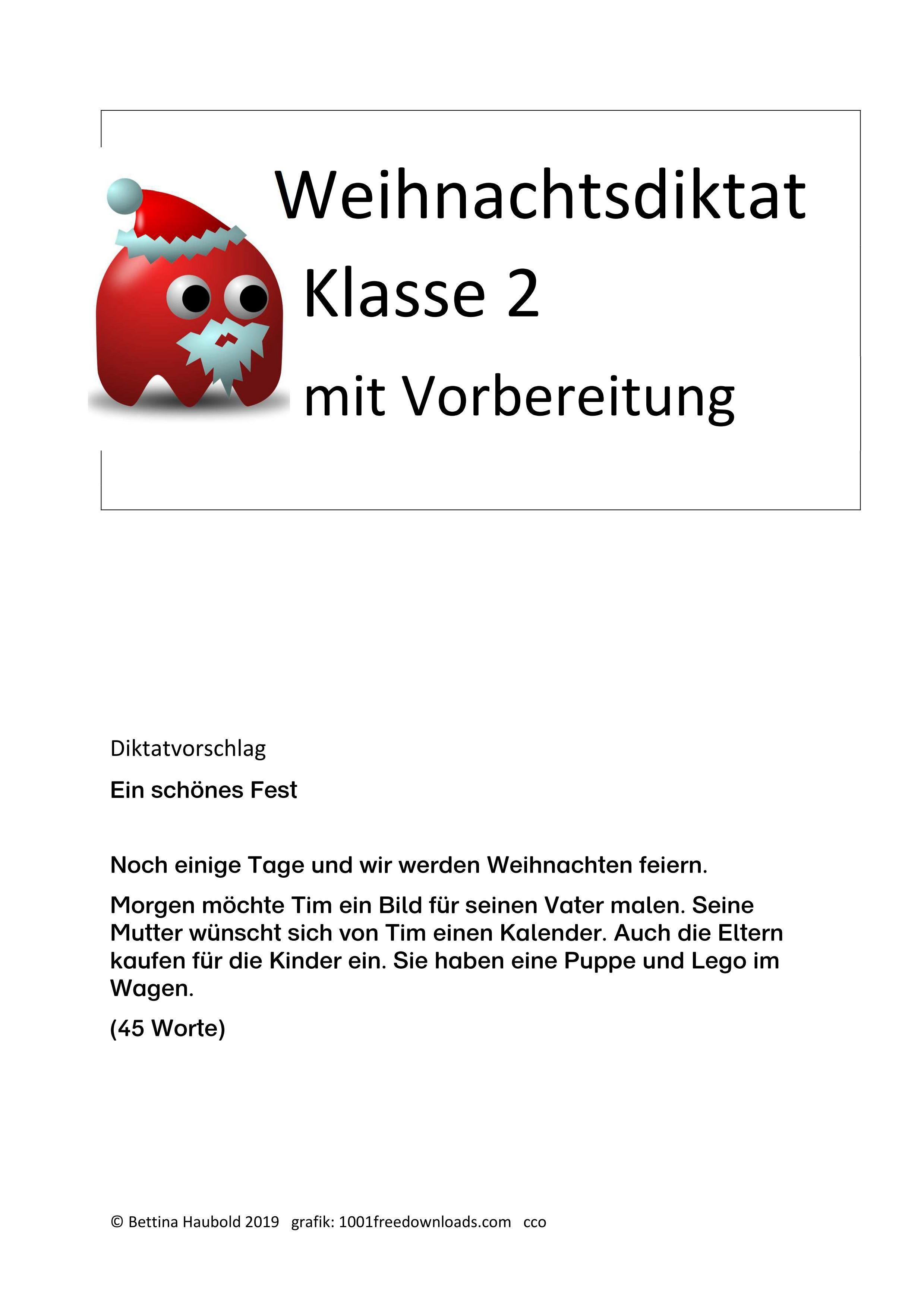 Weihnachtsdiktat Klasse 2 Teilweise Leistungsdifferenziert Unterrichtsmaterial Im Fach Deutsch 2 Klasse Erste Klasse Lernen Macht Spass