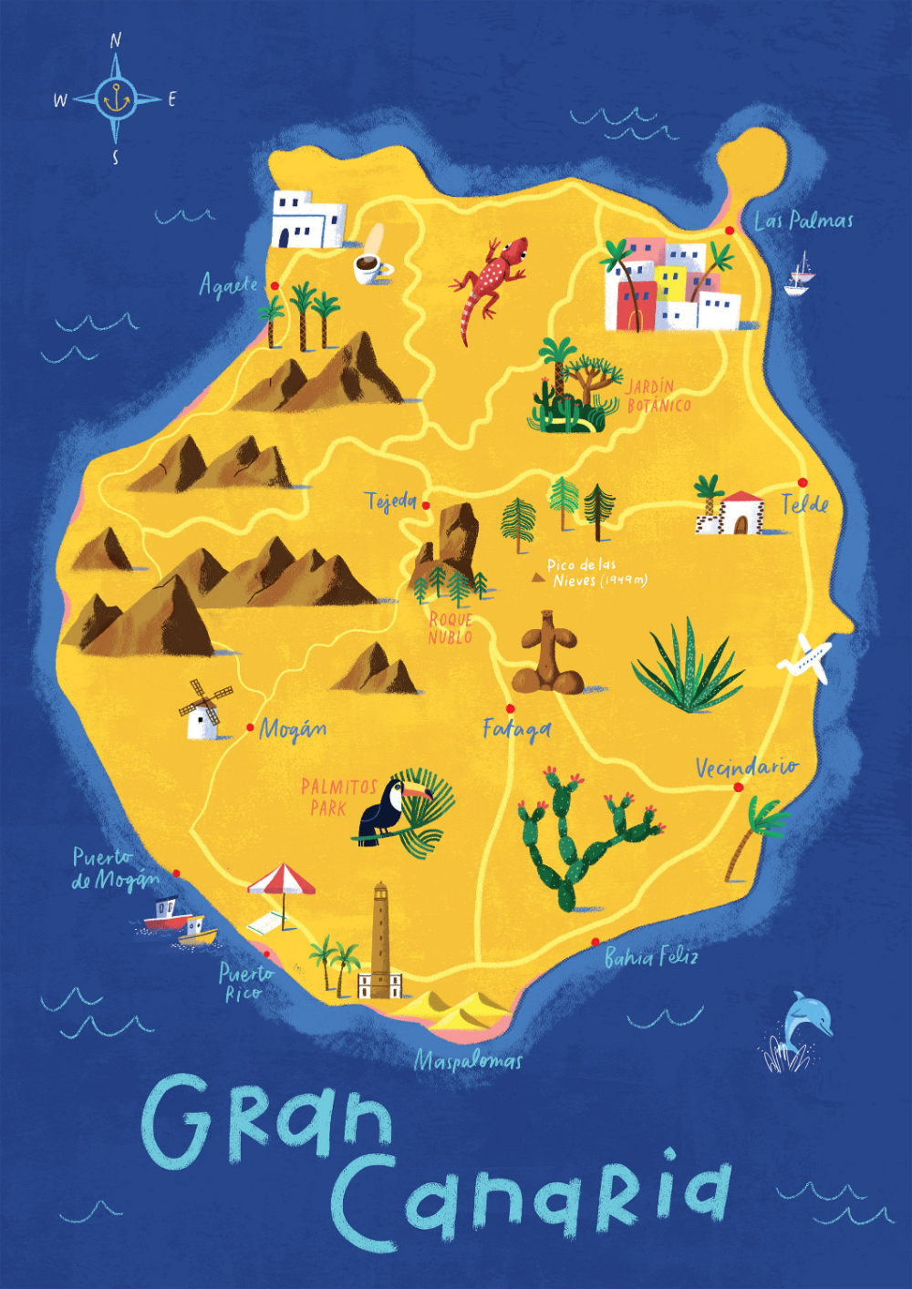 Gran Canaria Map Illustrated Map Las Palmas Canary Islands Etsy In 2020 Illustrated Map Canary Islands Gran Canaria Canary Islands
