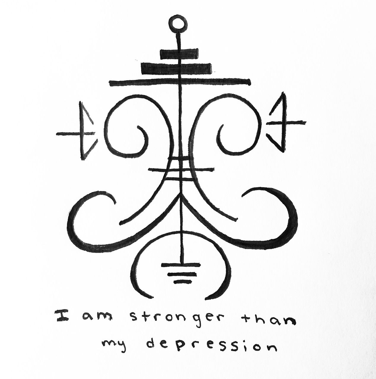 """power-of-three: """" """"I am stronger than my depression"""" sigil for anonymous Sigil requests are open ! -Mod Pyre """""""