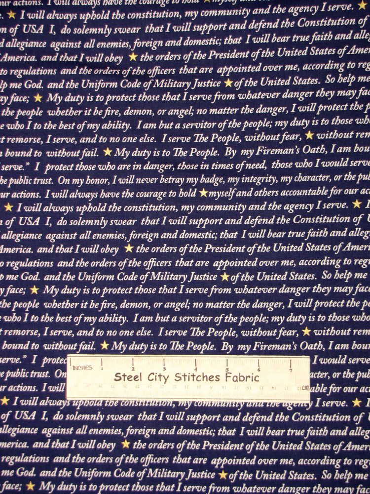 American Heroes Usmc Oath Words Police Fire Words Cotton Fabric Windham Yard Fabric Windham American Heroes