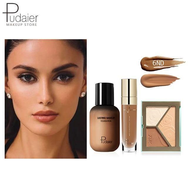 Pudaier Face Foundation Make-up Set Liquid Foundation Creme Matt Highlighter Base Gesicht ALL Concealer Cosmetic Professional Base – 6ND