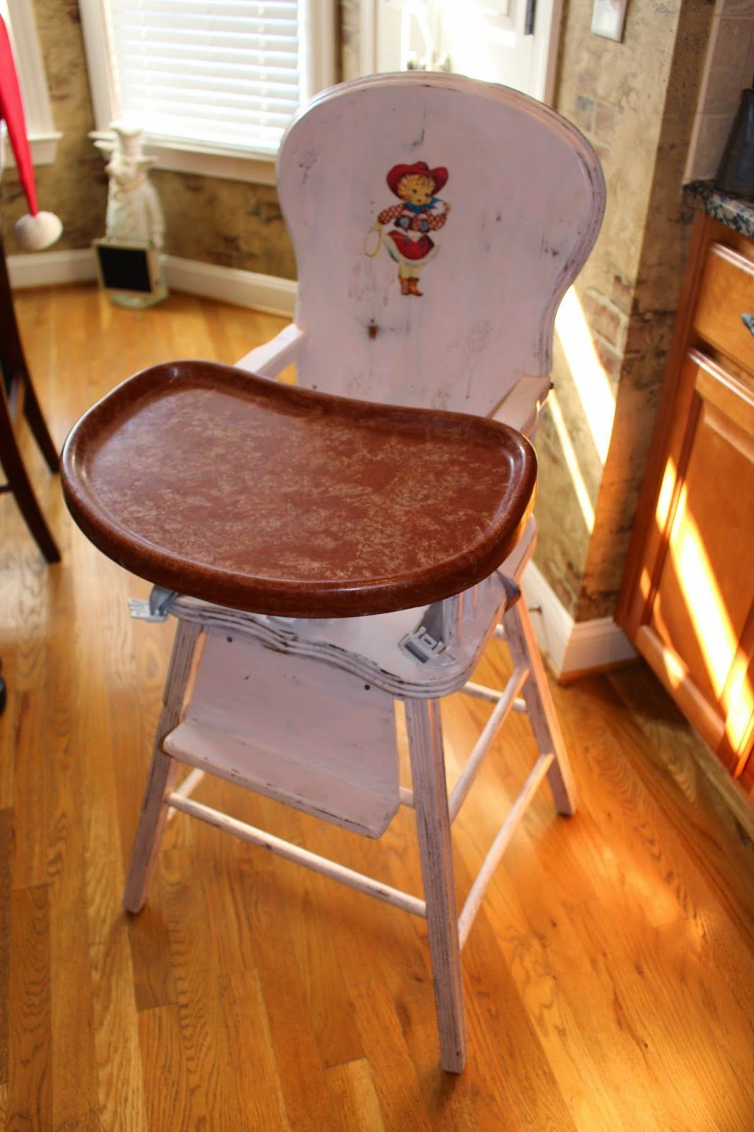Painted wooden high chairs - Harris Sisters Girltalk One Man S Trash Vintage High Chair