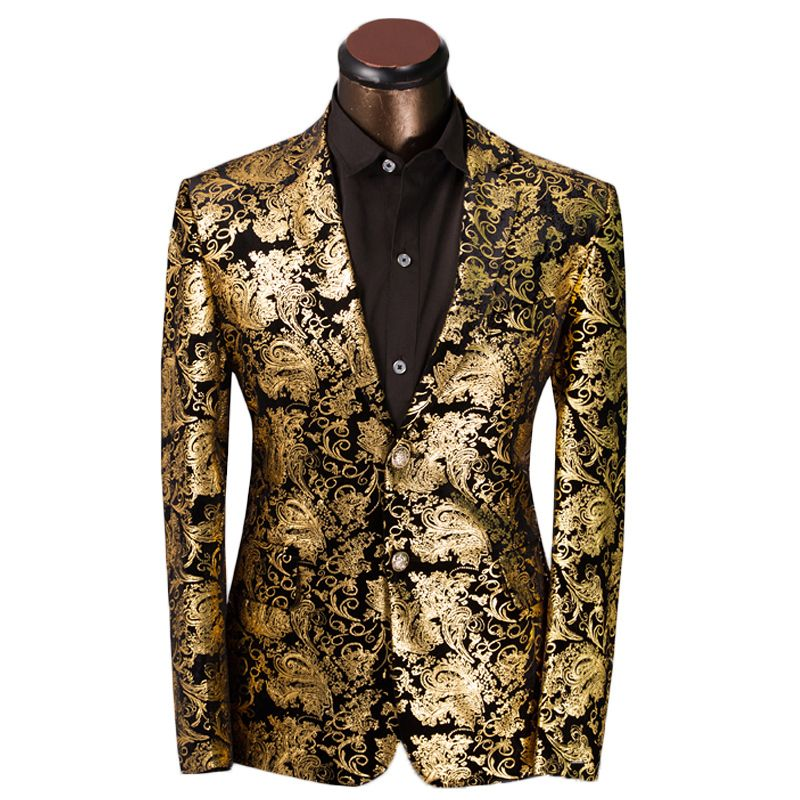 Luxury Men Suit Golden Floral Pattern Suit Jacket Men Fit Prom Suits Tuxedo Brand Wedding Party Blazer Ja Ternos