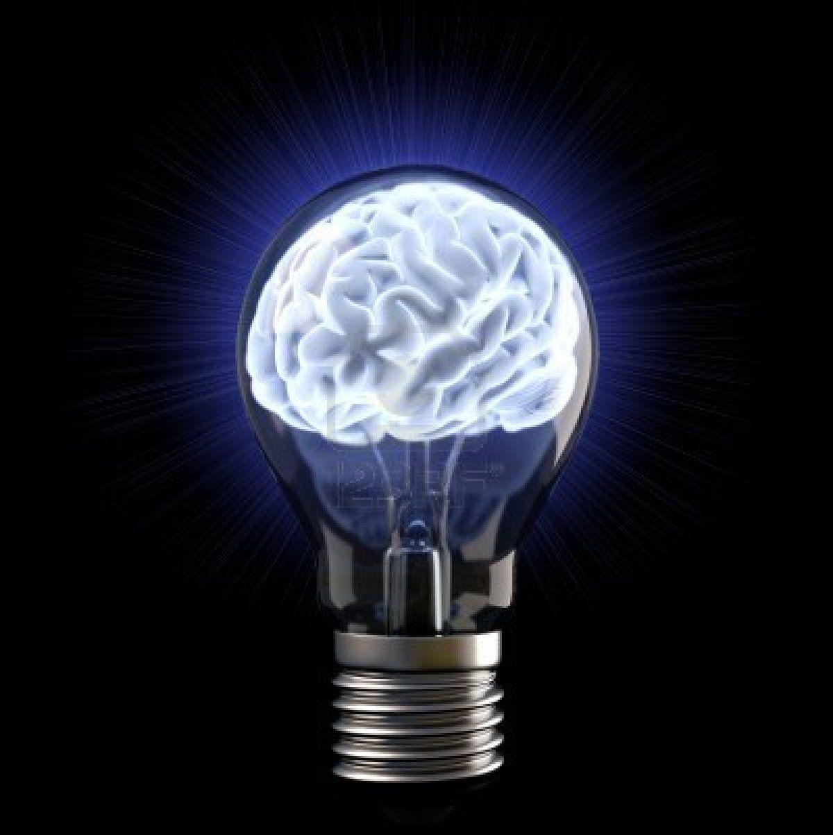 Glowing Brain Inside Light Bulb